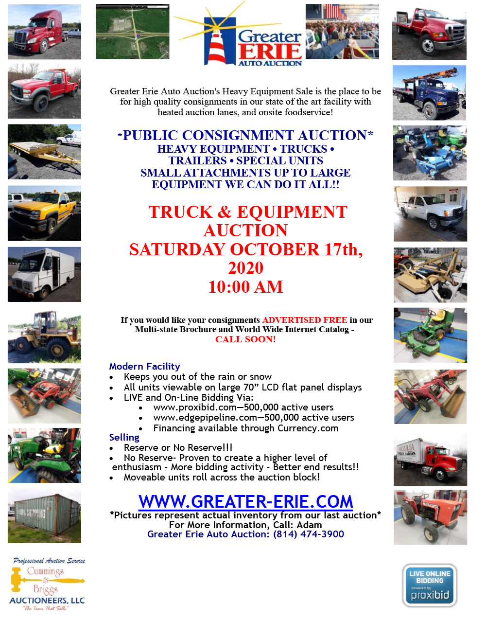2020 Heavy Equipment Sale at Greater Erie Auto Auction | Saturday June 13
