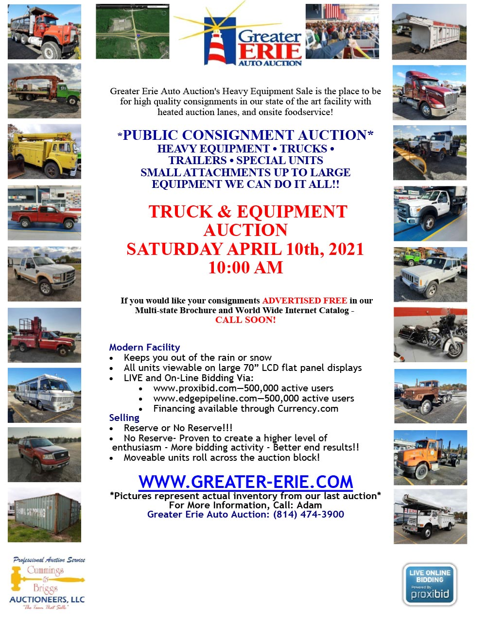 2021 Heavy Equipment Sale at Greater Erie Auto Auction | Saturday April 10